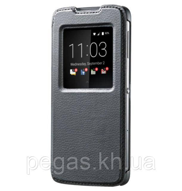 Чехол кожа BlackBerry DTEK60 умный флип черный. Оригинал