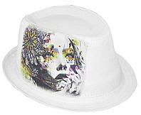 Шляпа челентанка фотопринт лен белый девушка в цветах