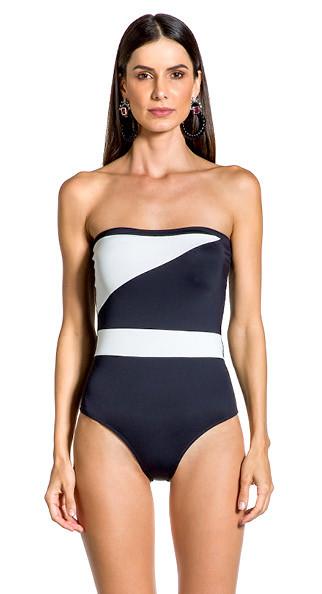 Купальник  бандо , цельный , слитный , черного, черно-белого цвета от бренда Larissa Minatto,плотная чашка M