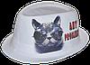 Шляпа челентанка фотопринт лен белый кот в очках