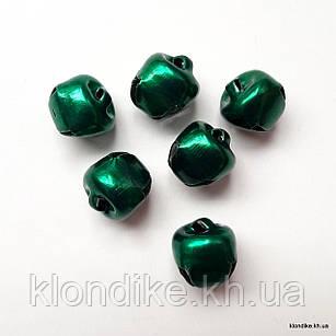Бубенчики, Металлические, 9×10 мм, Цвет: Зелёный (20 шт.)