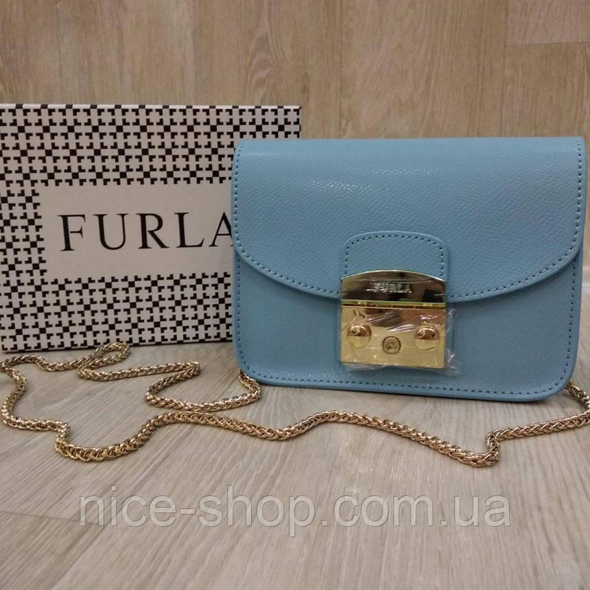 Клатч Furla Метрополіс блакитний, шкіряний, фото 2