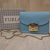 Клатч Furla  Метрополис голубой, кожаный