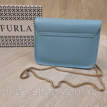 Клатч Furla Метрополіс блакитний, шкіряний, фото 3