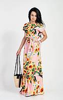 Розовое длинное платье в пол с красивым цветочным принтом, фото 1