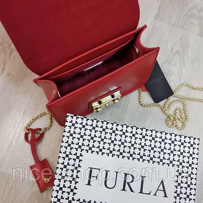 Клатч Furla  Метрополис красный, кожаный, фото 3