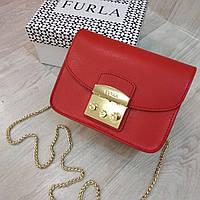 Клатч Furla  Метрополис красный, кожаный