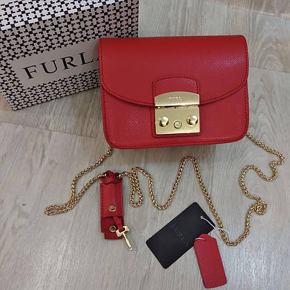 Клатч Furla  Метрополис красный, кожаный, фото 2