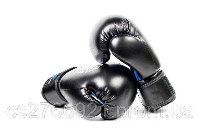 Боксерські рукавиці PowerPlay 3001 Чорно-Сині, фото 2