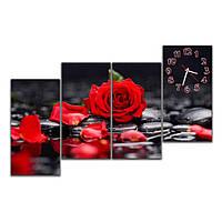 Часы-картина на стену IdeaX Роза на черном, 120х70 см