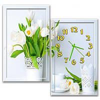 Эффектные модульные часы с картиной настенные в спальню IdeaX Букет весенних цветов