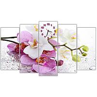 Красивая модульная картина с часами на стену в гостиную IdeaX Белые розовые орхидеи, 150х90 см