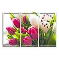 Стильная составная картина с часами настенная в зал IdeaX Нежные тюльпаны, 90х61 см
