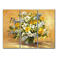 Сборная модульная картина часы для декора интерьера IdeaX Натюрморт, 90х70 см