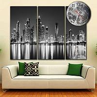 Сборная модульная картина часы для декора интерьера IdeaX Мегаполис черно-белый, 88х66 см