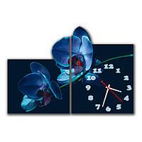 Сборная модульная картина часы для декора интерьера IdeaX Синие орхидеи, 60х43 см