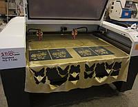 Лазерный станок для резки ткани, кожи, джинса. Оборудование для перфорация ткани и кожи