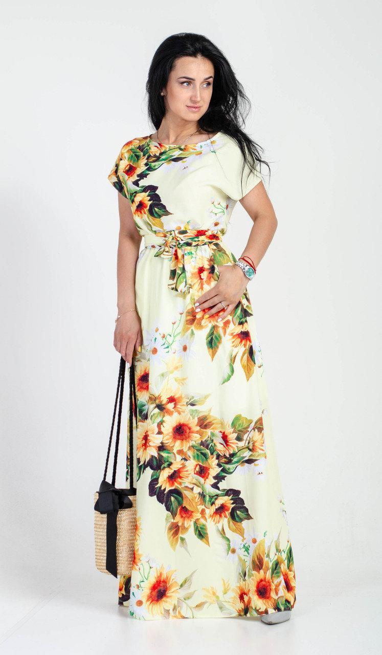 Белое женское летнее платье в пол с ярким цветочным принтом
