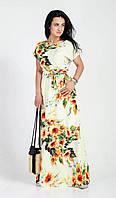 Белое женское летнее платье в пол с ярким цветочным принтом, фото 1