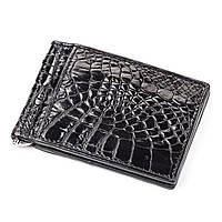 Зажим Ekzotic Leather  из натуральной кожи крокодила Черный (cc 05)