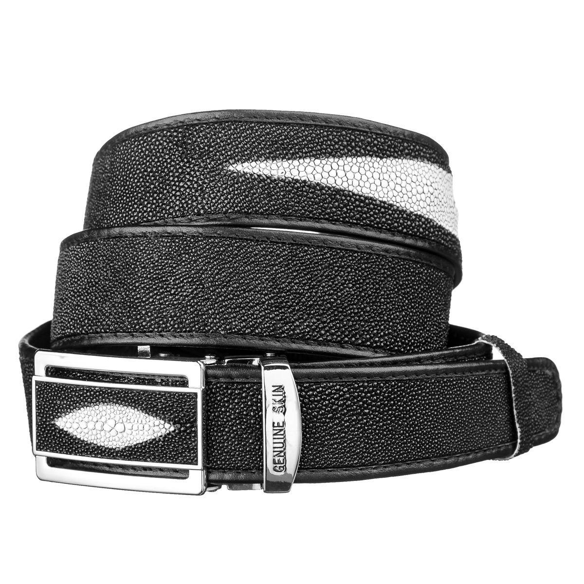 Ремень-автомат Ekzotic Leather  из натуральной кожи морского ската Черный (stb 14)