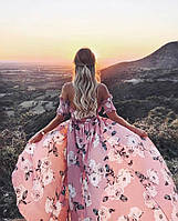 Женское стильное летнее платье из шифона в цветочек Скидка