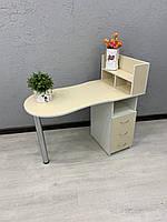 Складной маникюрный стол в бежевый с белым