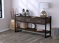 Консоль з ящиками для вітальні чи офісу L-145 Loft Design Чорний Матовий / Венге Корсика