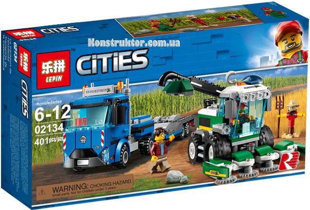 """Конструктор Lepin 02134 City """"Транспортировщик для комбайнов"""" 401 деталей. Аналог LEGO City 60223"""