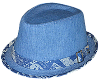 Шляпа челентанка хлястик джинс