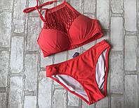 Женский купальникраздельный с узорами и Push-up размер норма 36-40 (цвета как на фото)