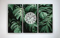 Настенные часы на холсте Листья