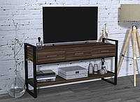Консоль з ящиками для вітальні чи офісу L-145 Loft Design Чорний Матовий / Горіх Модена