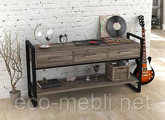 Консоль з ящиками для вітальні чи офісу L-145 Loft Design Чорний Матовий / Дуб Палєна