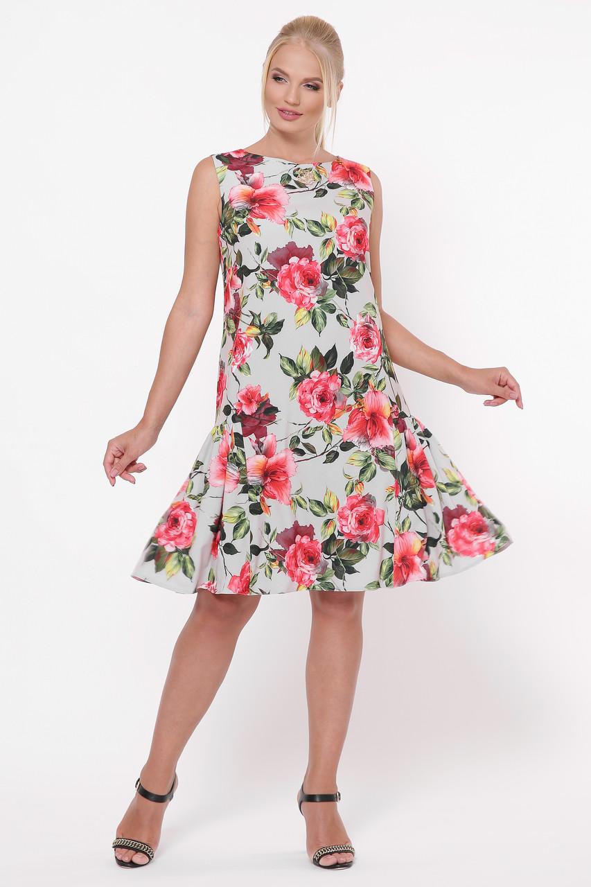 Свободное платье с цветами для полных Настасья
