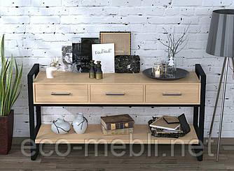 Консоль з ящиками для вітальні чи офісу L-145 Loft Design Чорний Матовий / Дуб Борас