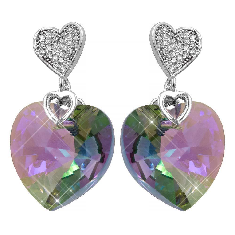 Серьги-гвоздики родий Swarovski Объемное сердце-камень на металлическом сердечке в мелких камнях