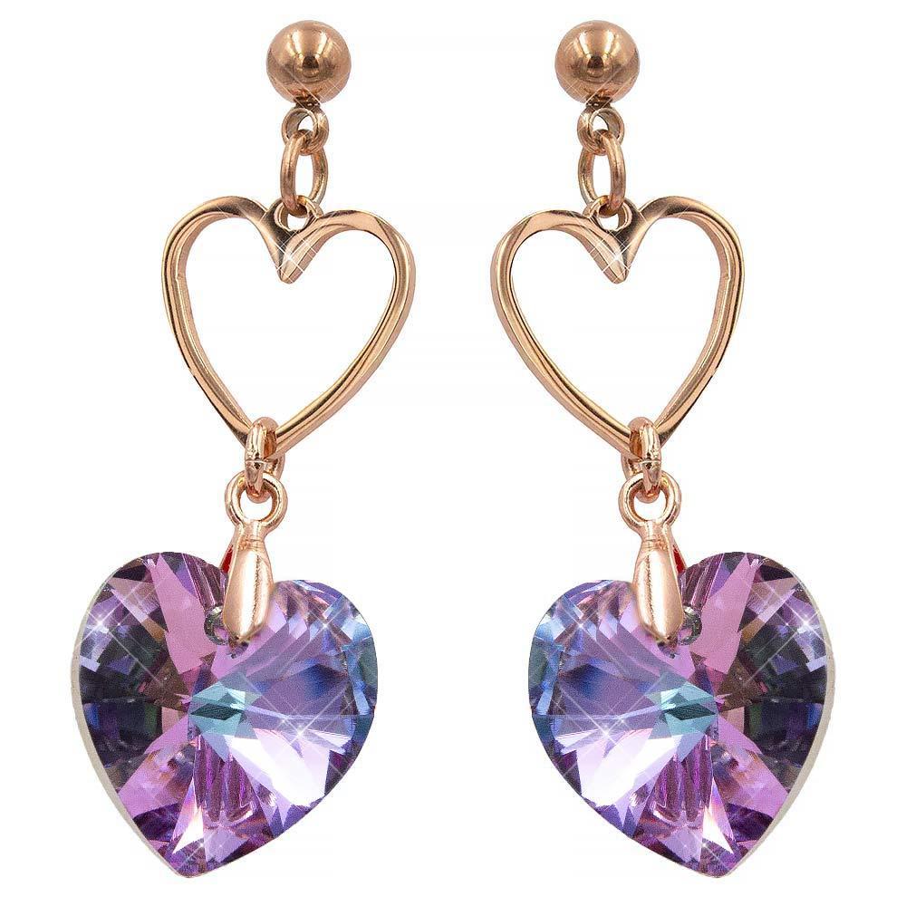 Серьги-гвоздики позолота Swarovski Объемное сердце-камень на металлическом контуре сердечка
