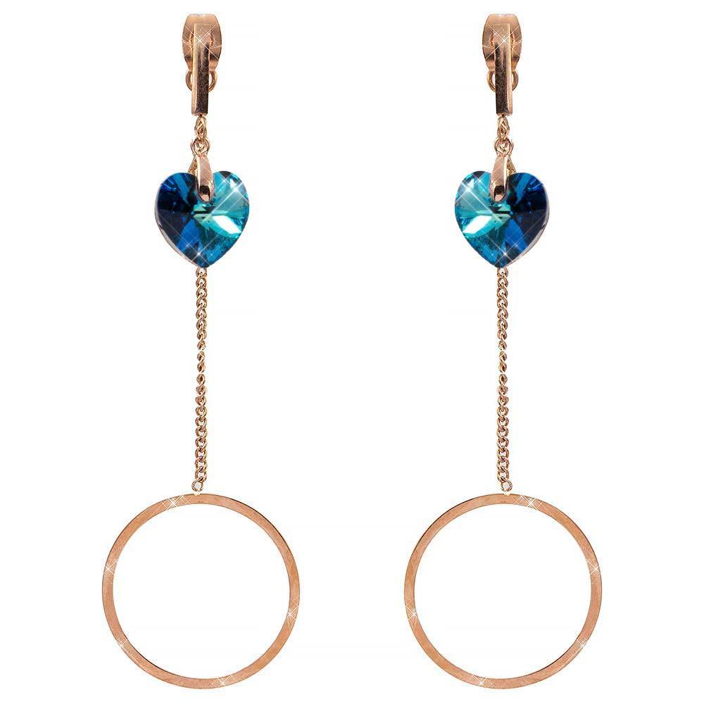 Серьги-гвоздики позолота Swarovski Маленькое сердце-камень на металлической палочке+ цепочка с контуром круга