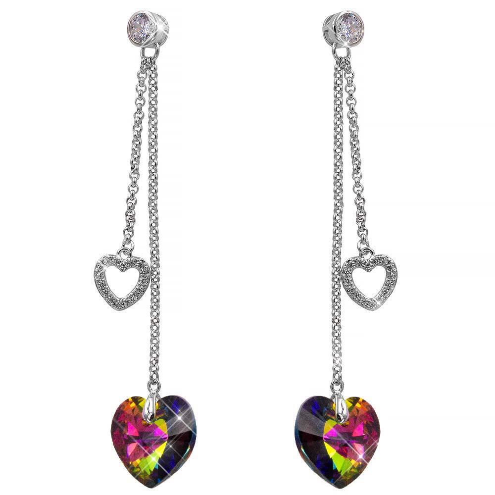 Серьги-гвоздики родий Swarovski 2 цепочки-сердечки, объемное сердце-камень