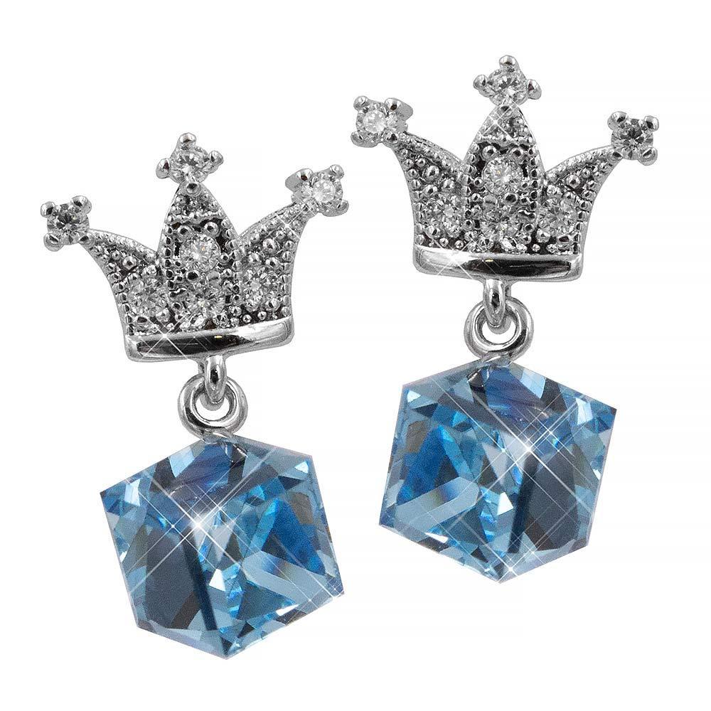 Серьги-гвоздики родий Swarovski Кубик (вис.) на короне с мелкими камнями