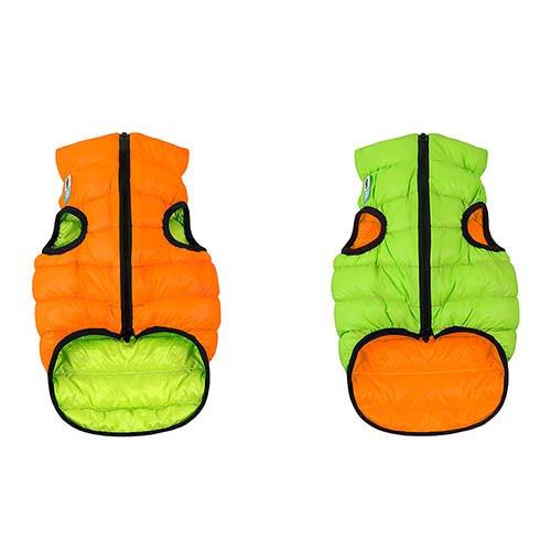 Курточка для собак Collar AiryVest двусторонняя, размер S 30, оранжево-салатовая (мопс, французский бульдог, пекинес)