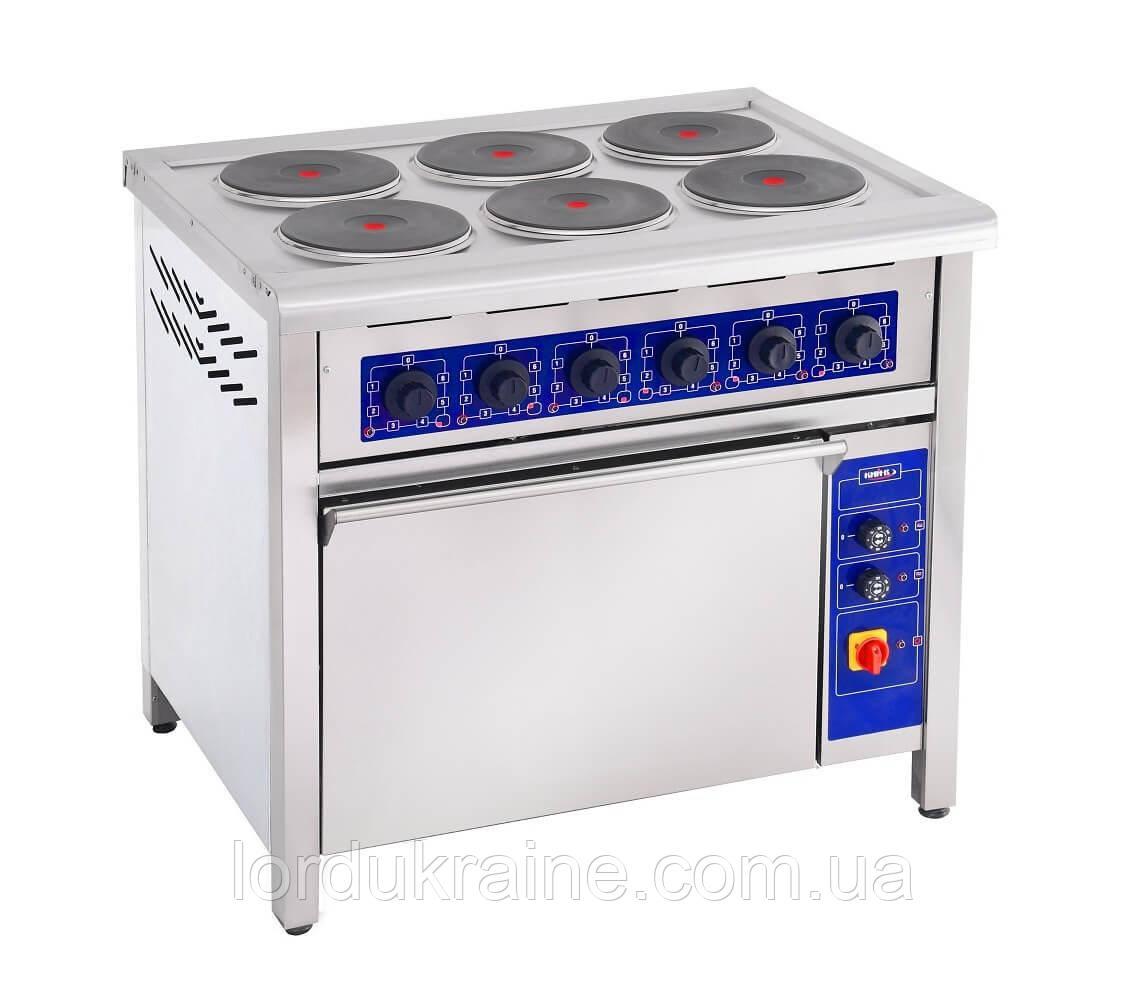 Плита электрическая профессиональная с духовкой ПЕД-6КР Кий-В