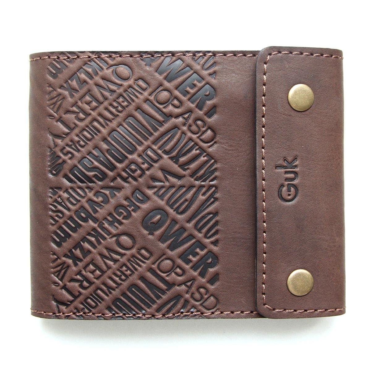 """Портмоне чоловіче шкіряне з відділенням на блискавці і кишенею для монет """"QWERTY"""" (Guk). Колір коричневий"""