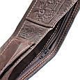 """Портмоне чоловіче шкіряне з відділенням на блискавці і кишенею для монет """"QWERTY"""" (Guk). Колір коричневий, фото 7"""