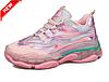 Женские розовые кроссовки на силиконовой подошве с голографическими вставками 37,38,39 (маломиркы), фото 3