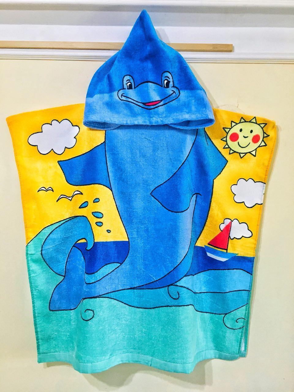 Пончо детское махровое для купания с капюшоном Дельфинчик