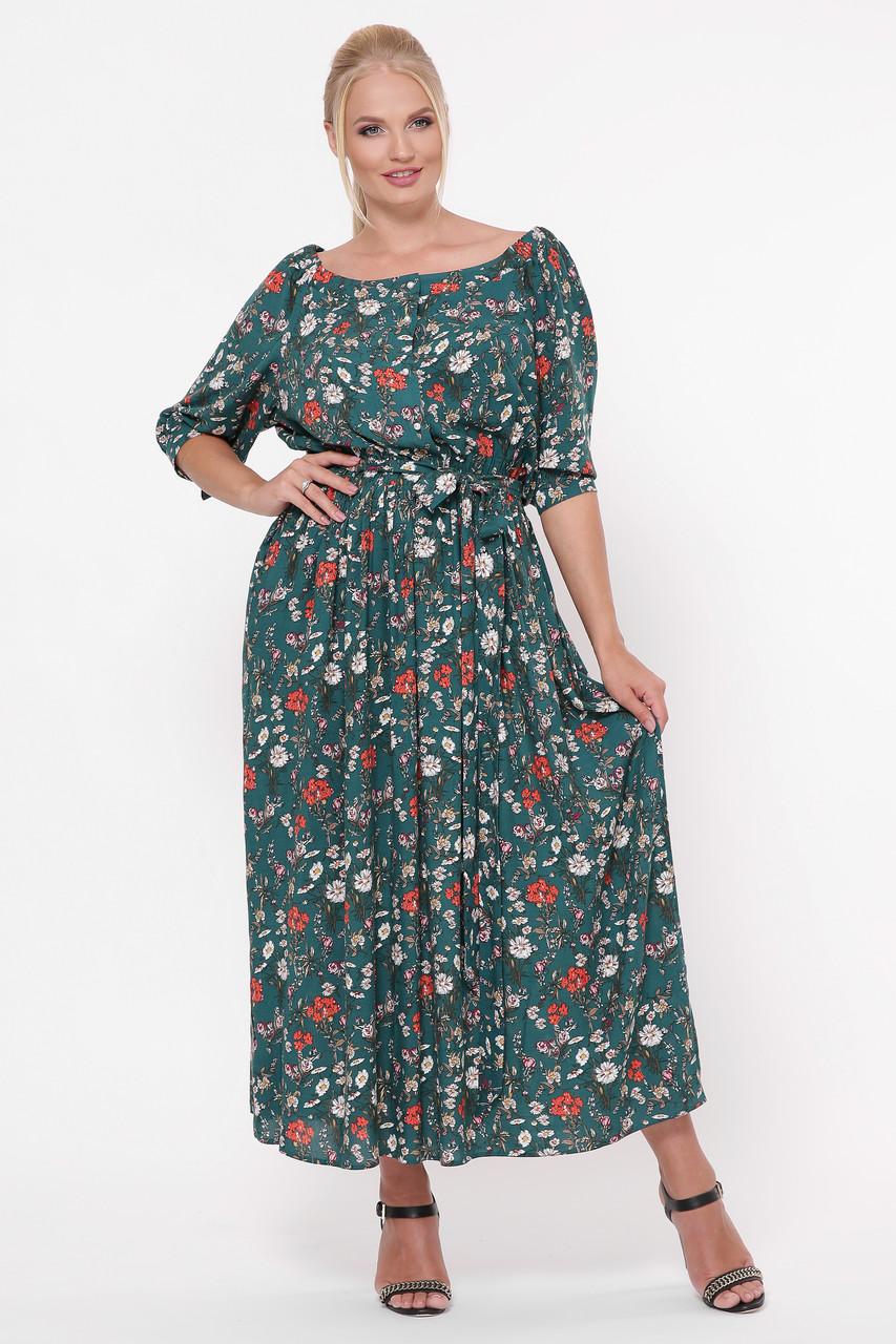 Зеленое длинное платье большое Снежанна
