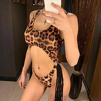 Женский сдельный купальник моникини с висюльками по бокам леопардовый