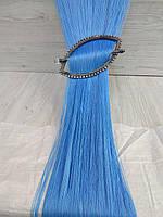Голубые однотонные шторы кисея без люрексовой нити, 3 м * 3 м, фото 1